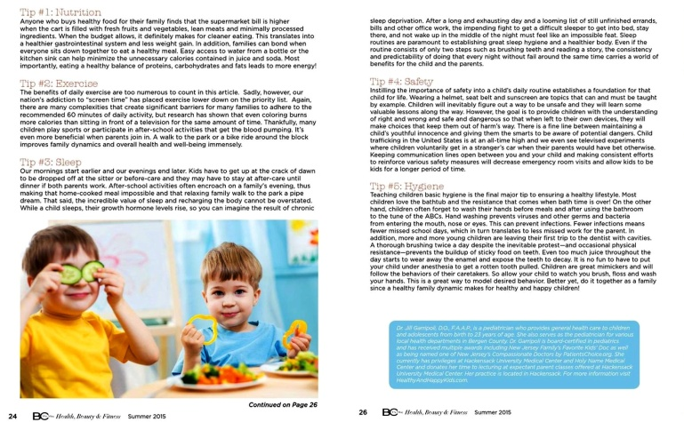 BC The Mag, Bergen County The Magazine, Dr. Jill Garripoli, Healthy And Happy Kids, Rutherford Pediatrician, Bergen County Pediatrician
